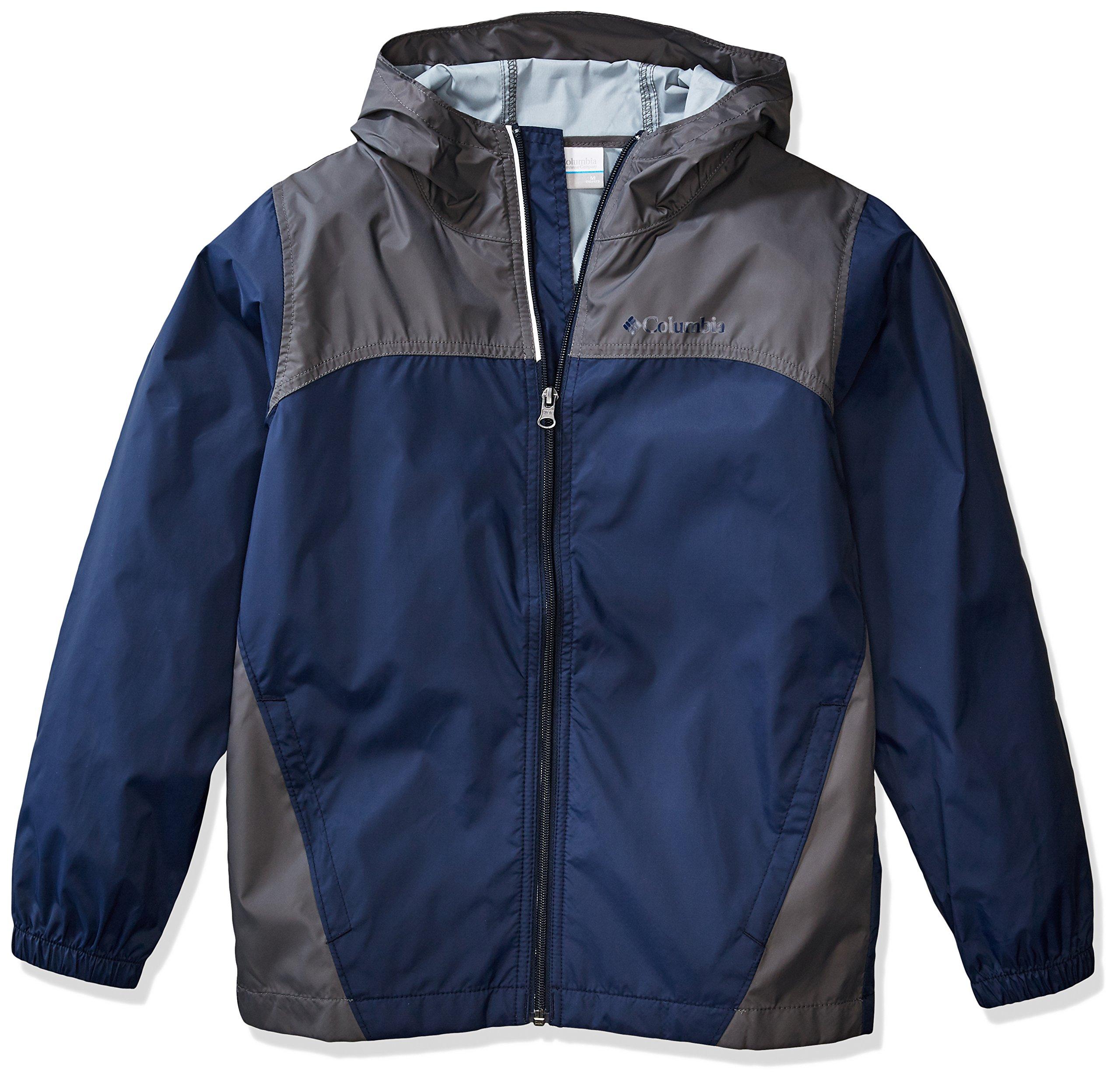 Columbia Boys' Big Glennaker Rain Jacket, Collegiate Navy/Grill, Medium