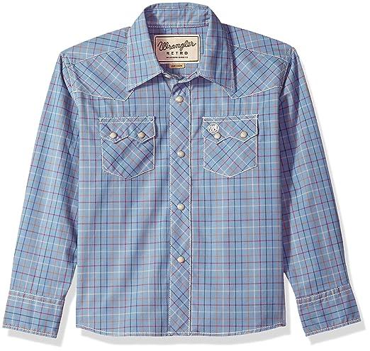 Vintage Style Children's Clothing: Girls, Boys, Baby, Toddler Wrangler Boys Retro Long Sleeve Two Flap Pockets Snap Front Shirt $26.00 AT vintagedancer.com