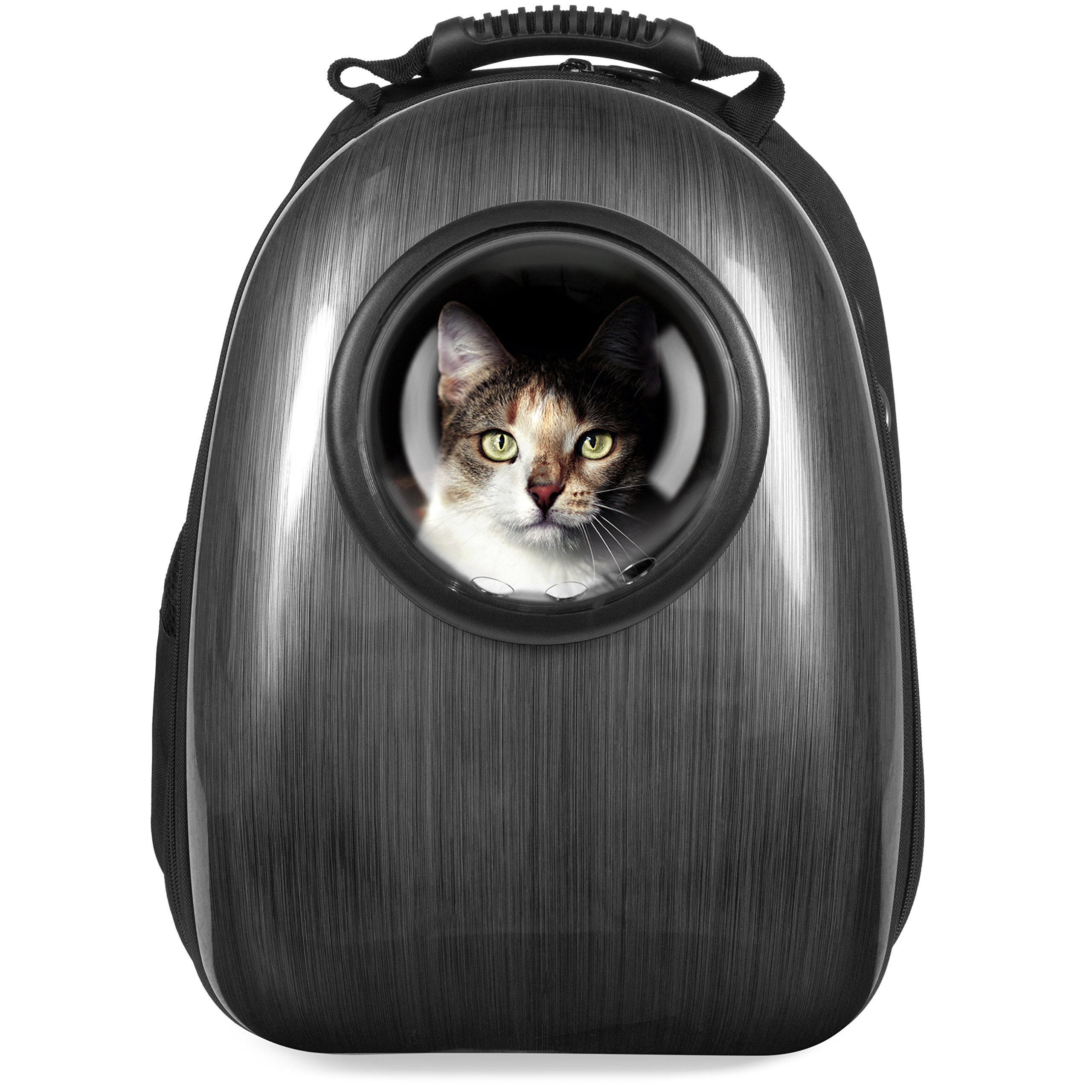 Best Choice Products Pet Carrier Space Capsule Backpack, Bubble Window Lightweight Padded Traveler for Cats, Dogs, Small Animals w/Breathable Air Holes - Charcoal Gray