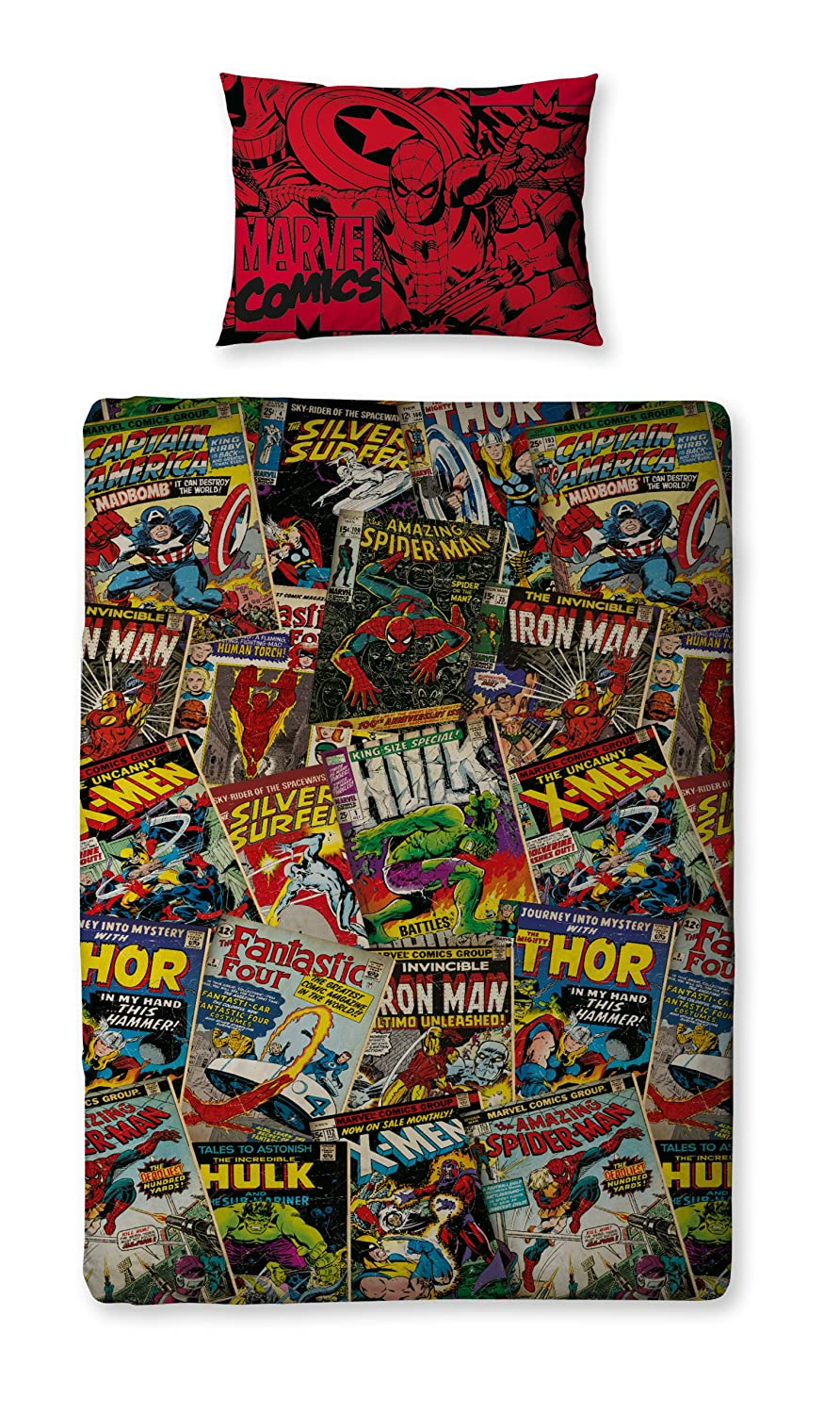 Character World Disney Marvel Comics Single Rotary Duvet Set, Multi-Color DMC-COM-MS2-MSC-06SP