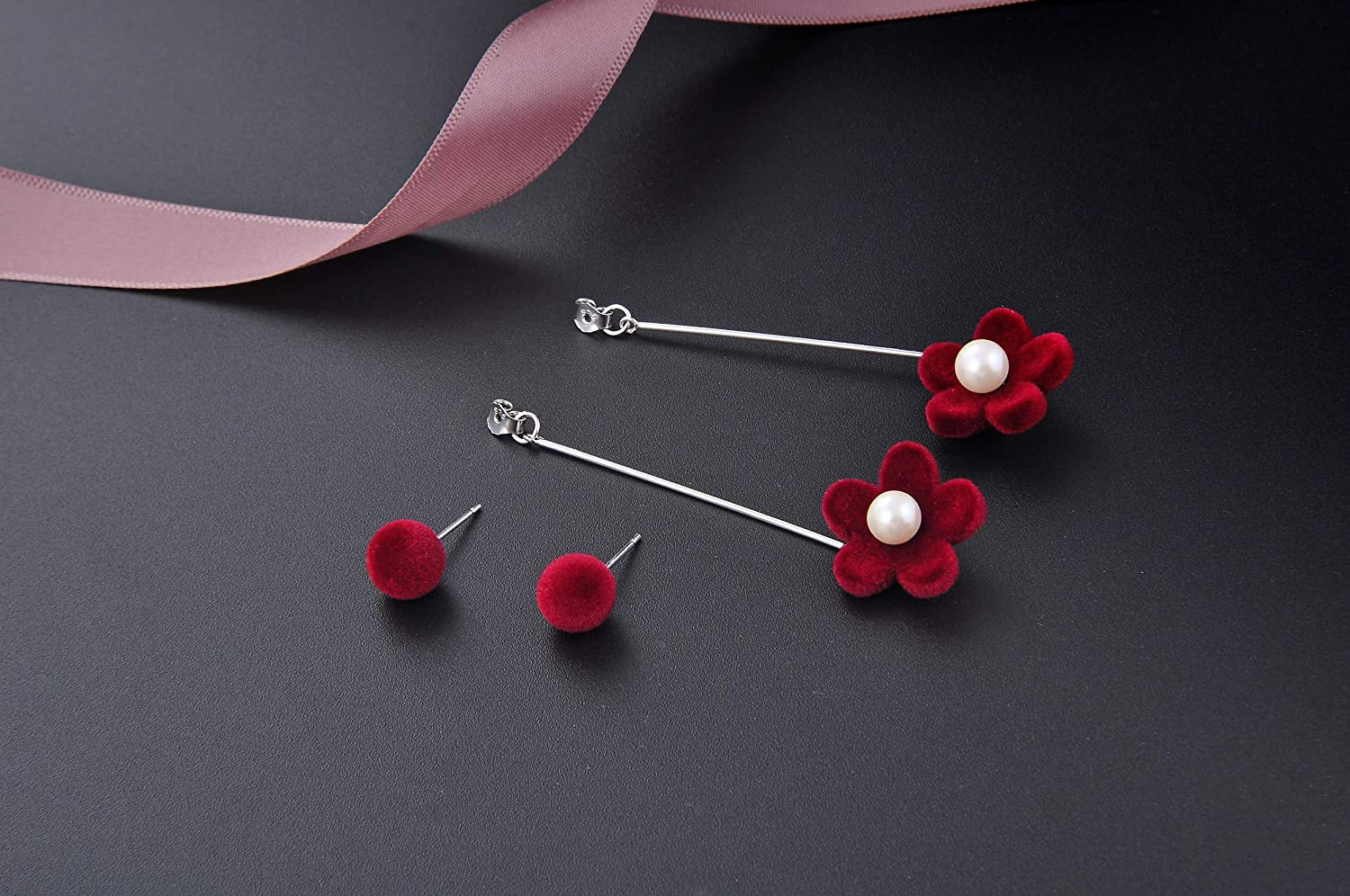 FHX 925 Sterling Silver Simple Fashion Flower Female Fashion Beaded Earrings Jewelry Casual Mix is Very Beautiful Customized for You Employee Benefits Weddings Birthday Travel Festivals.