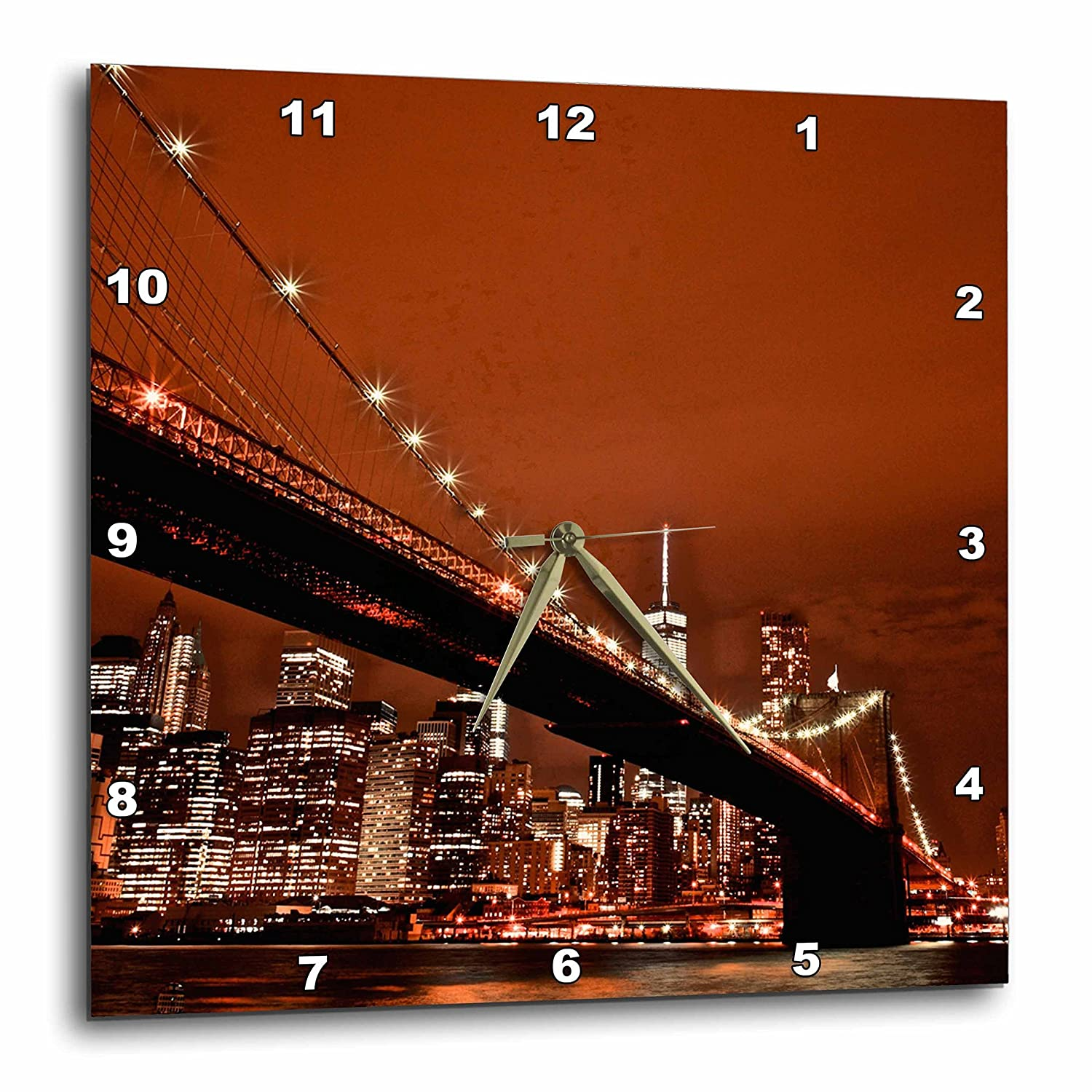 Wall Clock DPP/_219797/_2 13 by 13 3dRose New York Scene of The Brooklyn Bridge and Manhattan Skyline at Night