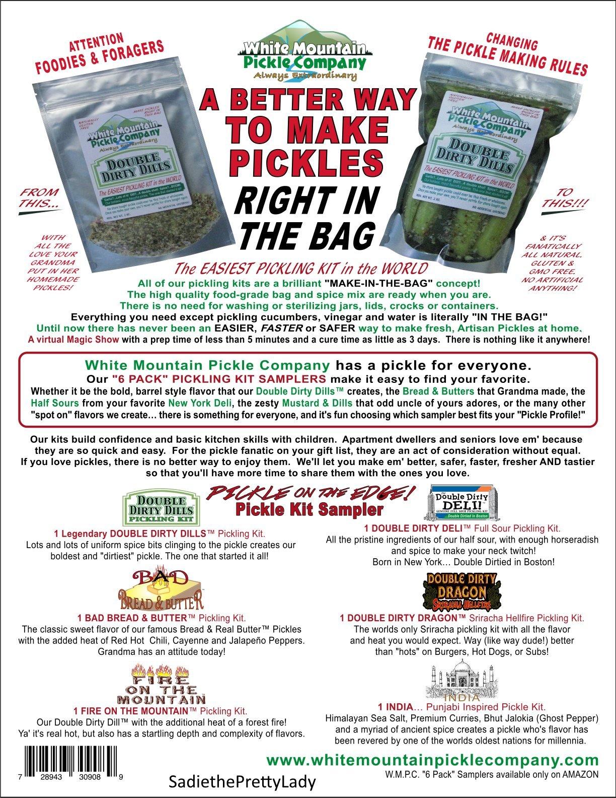 White Mountain Pickle Company ''Pickle On The Edge'' Sampler Pickling Kit - 6 Pack