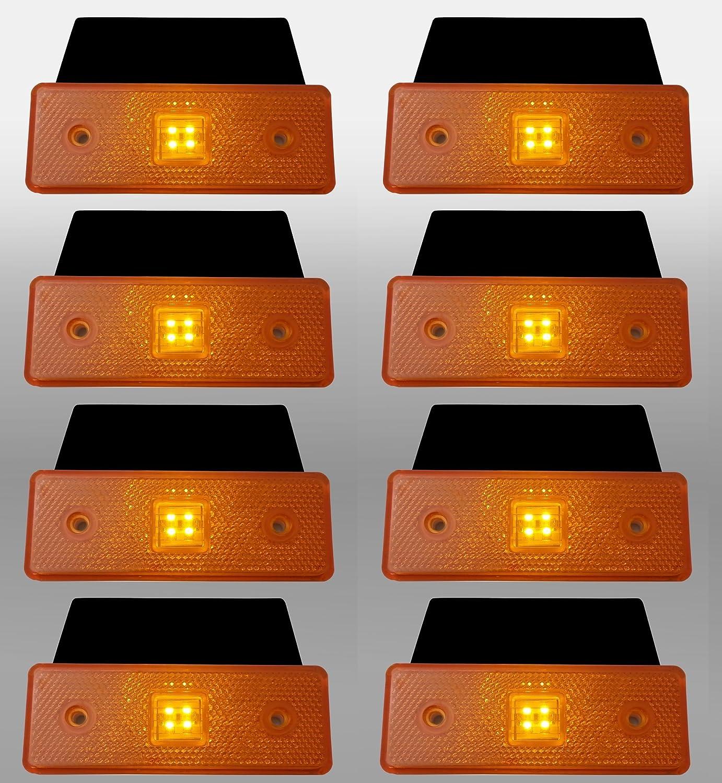 8 x 24v 24 volt LED yellow side marker light indicator trailer truck lorry flexzon