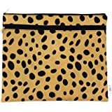 Wet + Dry Portfolio - Waterproof Cloth Diaper Wet Bag with Dry Pocket - Swimsuits + Travel, Diapering + Feeding On-the-Go - Made in USA (Leopard)