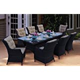 Darlee Valencia Wicker 9Piece Rectangular Dining Set with Cushions, 40'' by 91''