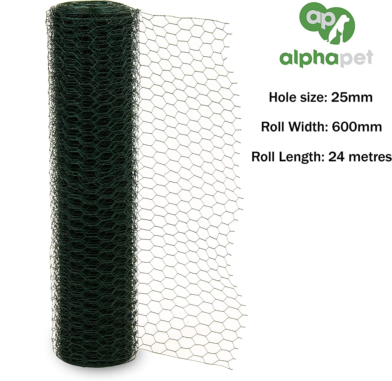Hole Size 25mm 0.6m x 36m Alphapet/® Green PVC Coated Galvanised Chicken Wire Mesh Aviary Rabbit Pet Steel Metal Garden Netting Fence