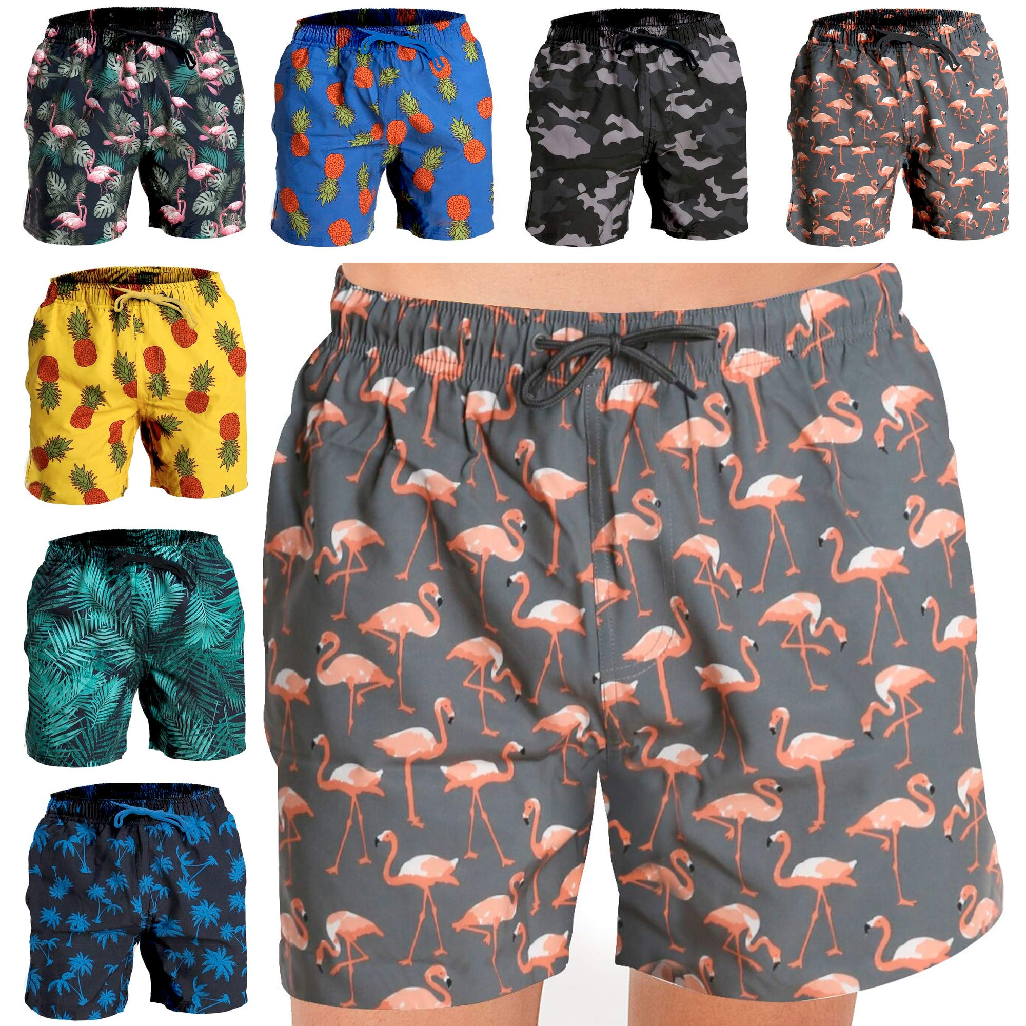 Fort Isle Mens Stretch Swim Trunks - XXL - Gray Flamingos - Quick Dry 4-Way Stretch - Bathing Suit by Fort Isle