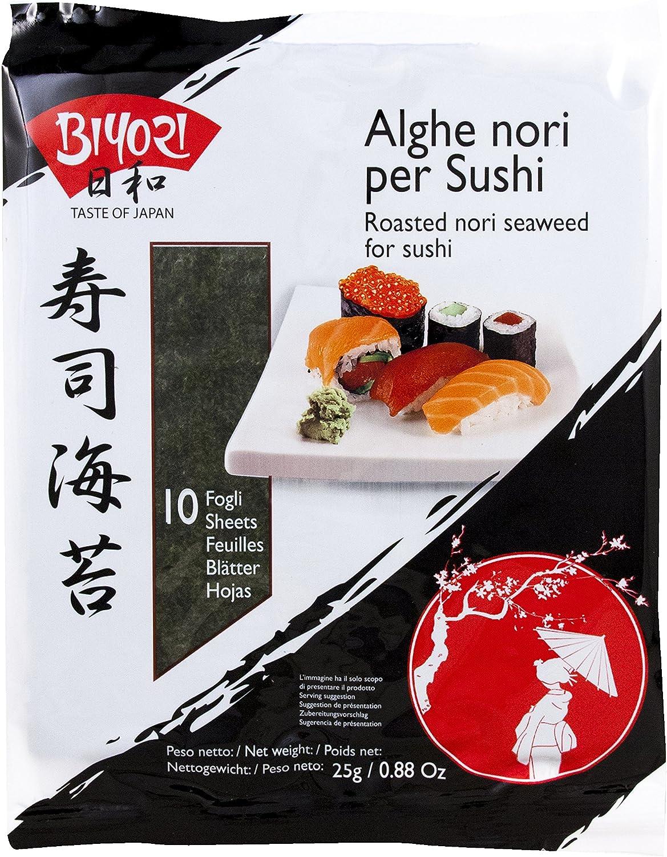 Biyori algas para sushi 1 paquete de 10 hojas (25gramos)
