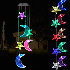 Solar Power Stars and Moon LED Wind Chimes Outdoor Decor, Waterproof Mobile Color Changing Wind Chimes, Star Moon Solar Light Xmas, Gifts for Mom, Home, Patio, Yard, Party, Festival, Garden Decoration