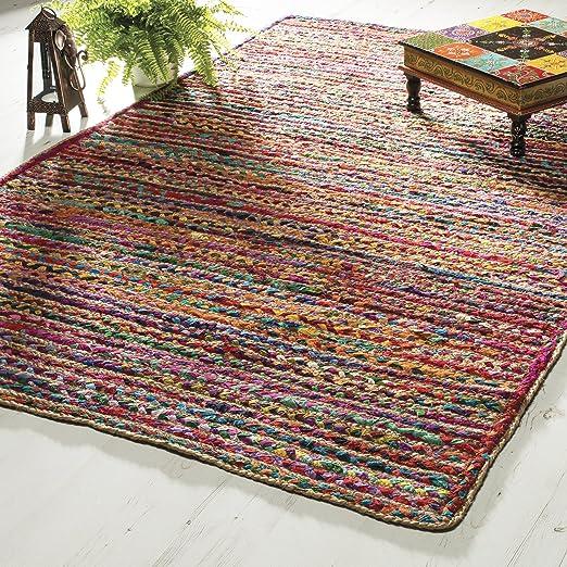 Comercio justo Indian 100% trenzado algodón yute rayas alfombra (90 x 150): Amazon.es: Hogar