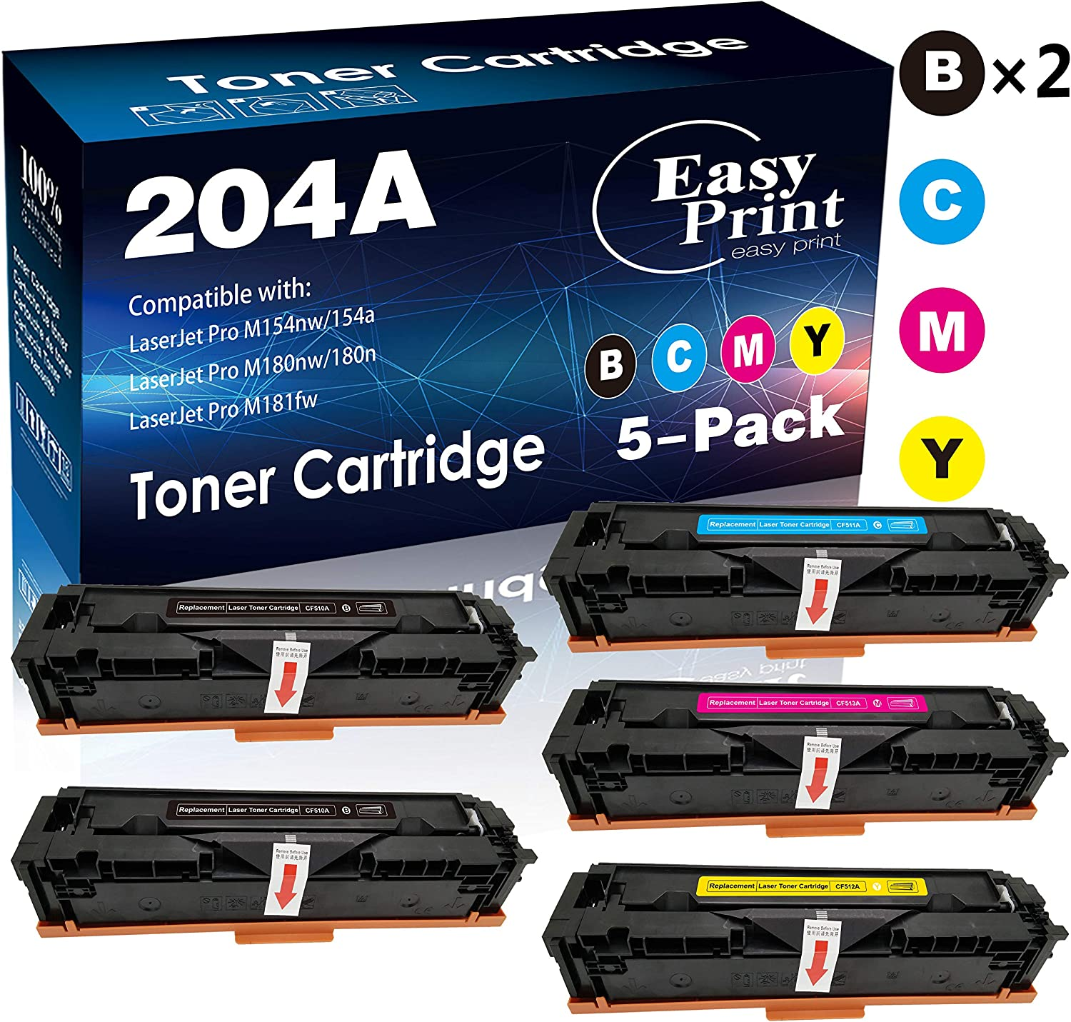 (5-Pack, 2xBK+C+M+Y) Compatible 204A Toner Cartridge 204A Used for HP CF510A CF511A CF512A CF513A Laserjet Pro M154nw M154a M180nw M180n M181fw Printer, by EasyPrint
