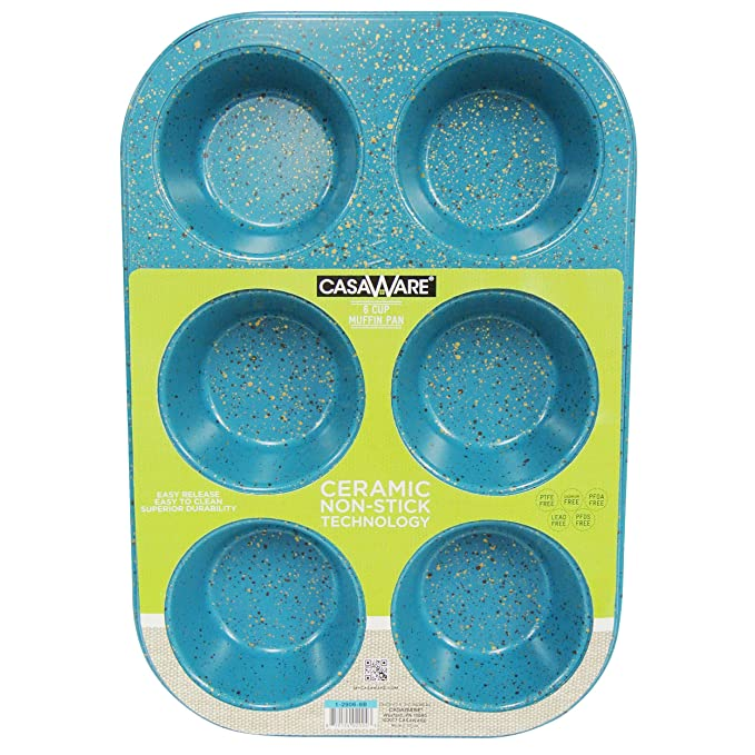 casaWare Toaster Oven 6 Cup Muffin Pan NonStick Ceramic Coated (Blue Granite) best muffin pans