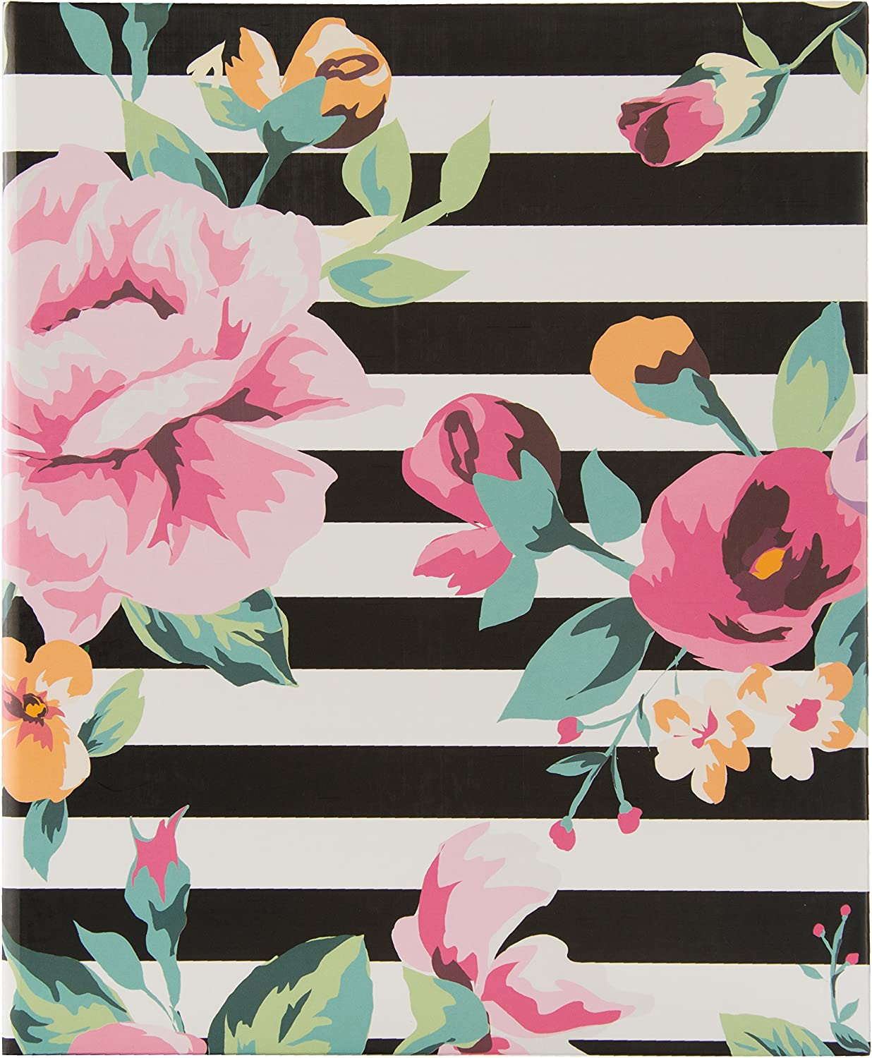 Pinnacle Frames and Accents 4UP Floral Stripes Album Black