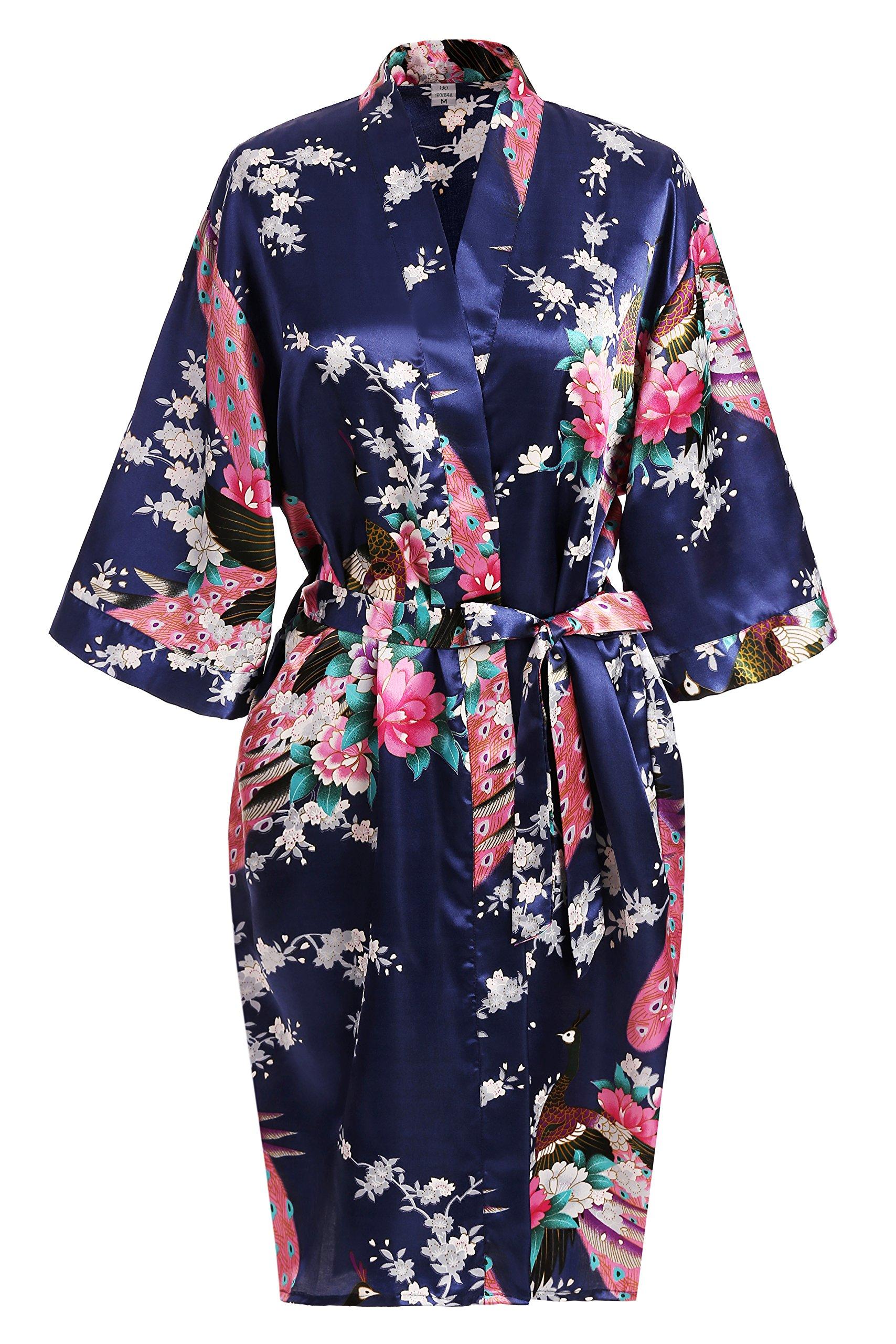 USDisc't Elegant Women's Kimono Robe for Parties Bridal and Bridesmaid Short (M, NavyBlue)