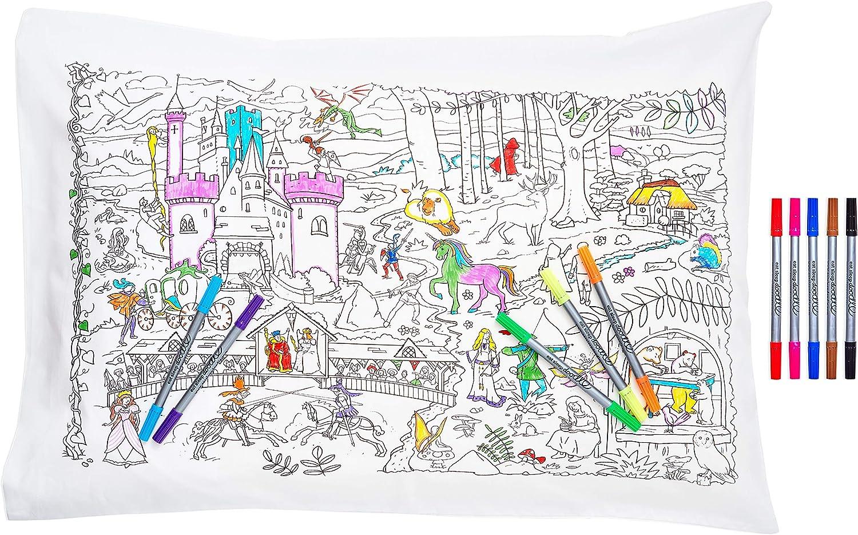 princesses et autres marqueurs lavables inclus dragons Eatsleepdoodle Taie doreiller en pur coton doux avec licornes