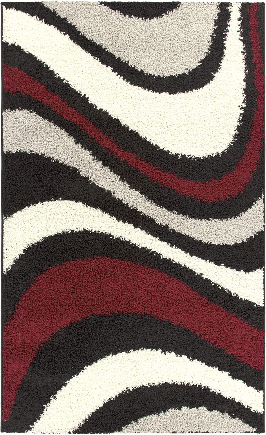 Blue Nile Mills Ceará Shag Area Rug, Plush, Extra-Thick Pile, Shabby-Chic, Retro, Abstract, Bold Wave Design, Jute Backing, Black, 5' x 8'