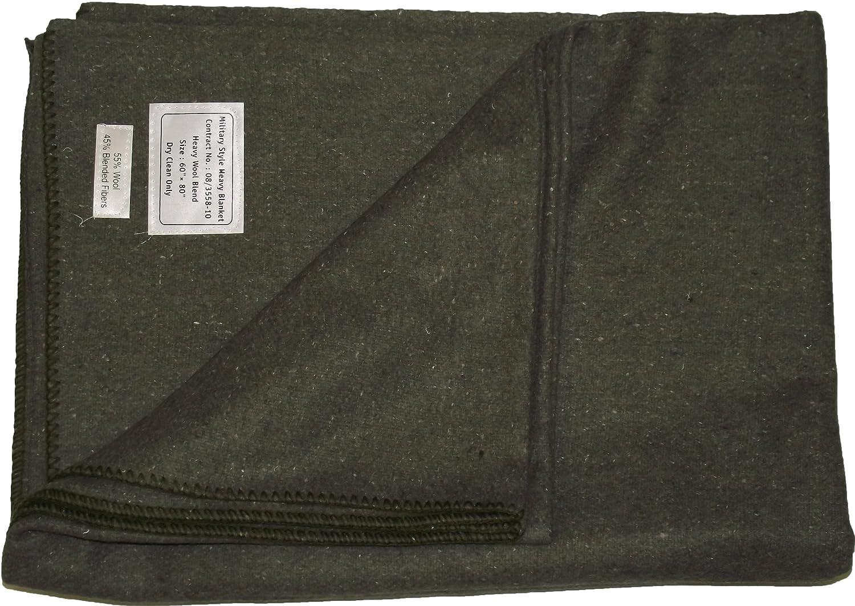 Manta de lana, diseñ o militar, verde oliva, 60'x 80' (152cm x 203cm) diseño militar 60x 80 (152cm x 203cm)