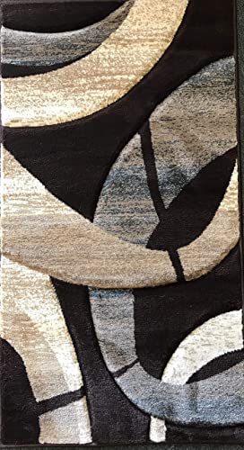 Sculpture Modern Door Mat Area Rug Chocolate Brown Blue Beige Contemporary Design 248 2 Feet X 3 Feet 4 Inch