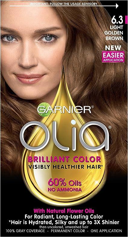 Garnier Olia Oil Powered Permanent Haircolor, 6.3 Light Golden Brown