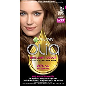 Garnier Olia Ammonia-Free Brilliant Color Oil-Rich Permanent Hair Color, 6.3 Light Golden Brown (Pack of 1) Brown Hair Dye (Packaging May Vary)