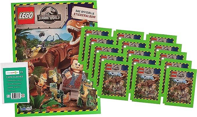 Blue Ocean Jurassic World Lego Sticker (2020) - 1 Album + 15 Tüten + stickermarkt24de Sleeves - Sammelsticker