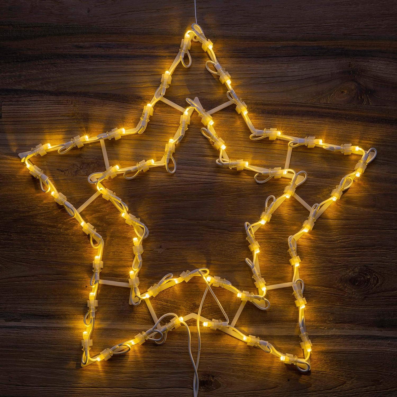 Weihnachtsstern 50 LED warm wei/ß Fensterbild Fensterschmuck Weihnachtsdeko Au/ßendeko Fensterlicht Fensterstern Dekostern Leuchtstern Adventsstern