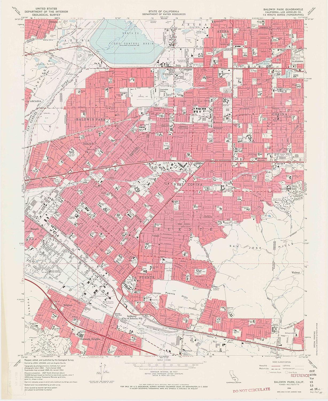 "Map Poster - Baldwin Park, California (1966), 1:24000 Scale, 24""x20"", Gloss Finish"