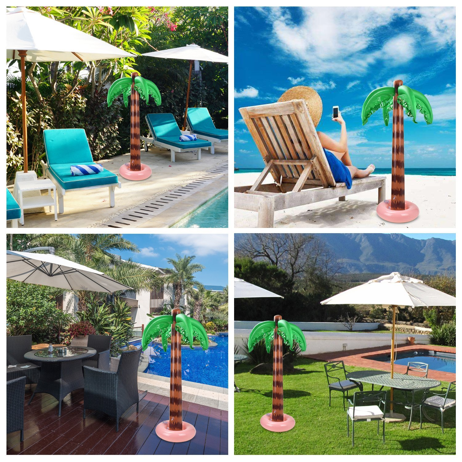 Alcoon 2 Pack Inflatable Palm Trees 90 CM Coconut Trees Beach Backdrop Favor for Tropical Hawaiian Luau Party Decoration
