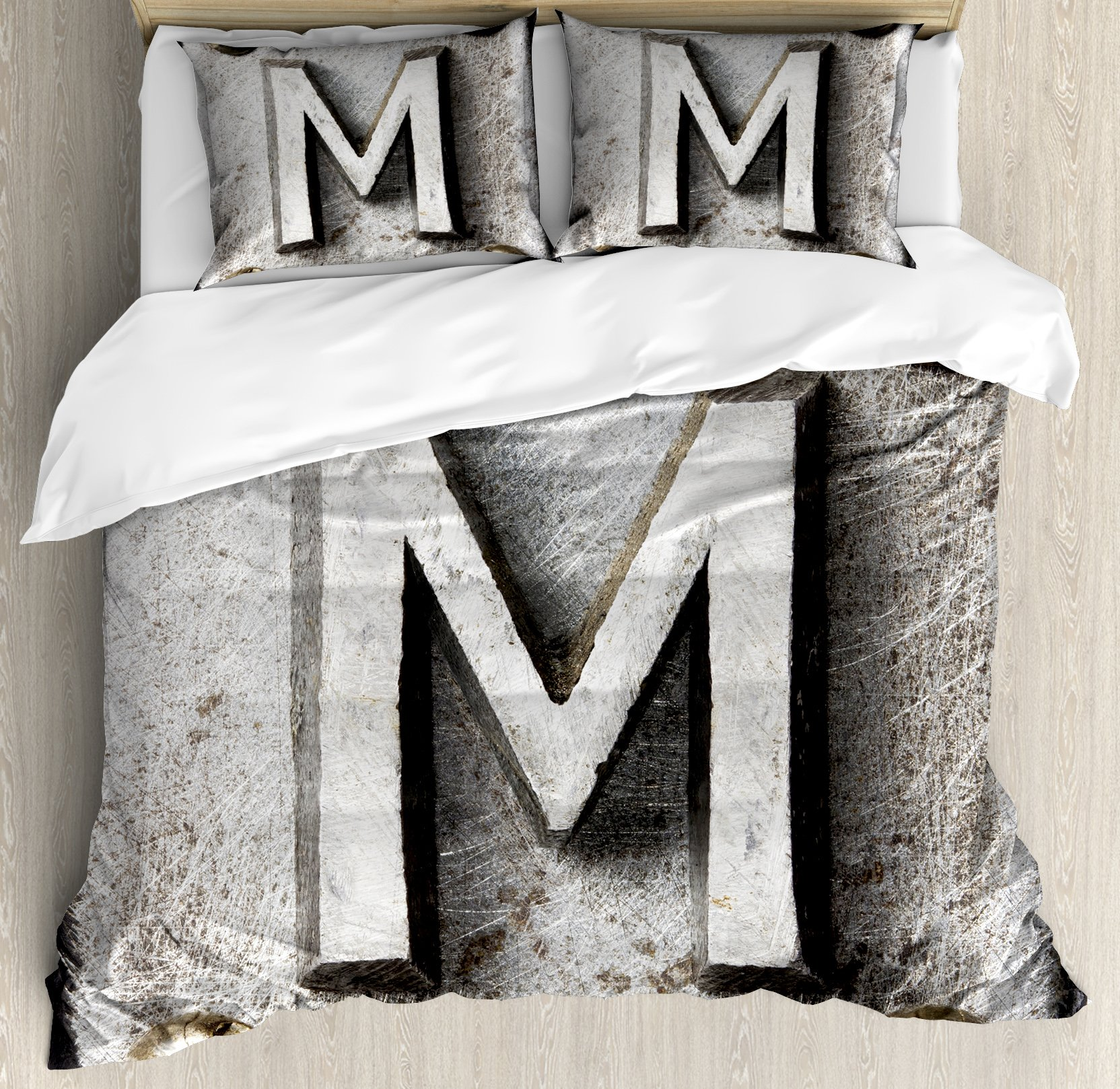Letter M Duvet Cover Set Queen Size by Ambesonne, Zinc Iron Steel Alphabet Typeset with Grunge Scratched Texture Industrial Image, Decorative 3 Piece Bedding Set with 2 Pillow Shams, Silver Gold
