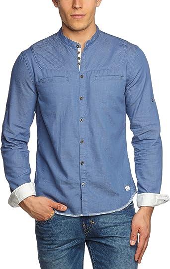 Campus - Camisa Slim fit con Cuello Mao de Manga Larga para Hombre, Talla 52, Color Azul (Dust Navy): Amazon.es: Ropa y accesorios
