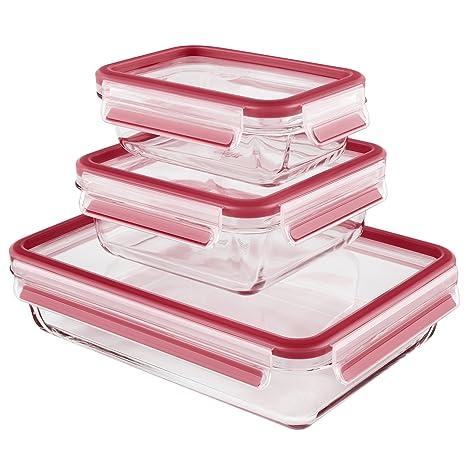 Emsa 514168 3-teiliges Frischhaltedosenset mit Deckel,Volumen 0,5/0,9/2 l, Clip und Close, Glas, farblich sortiert