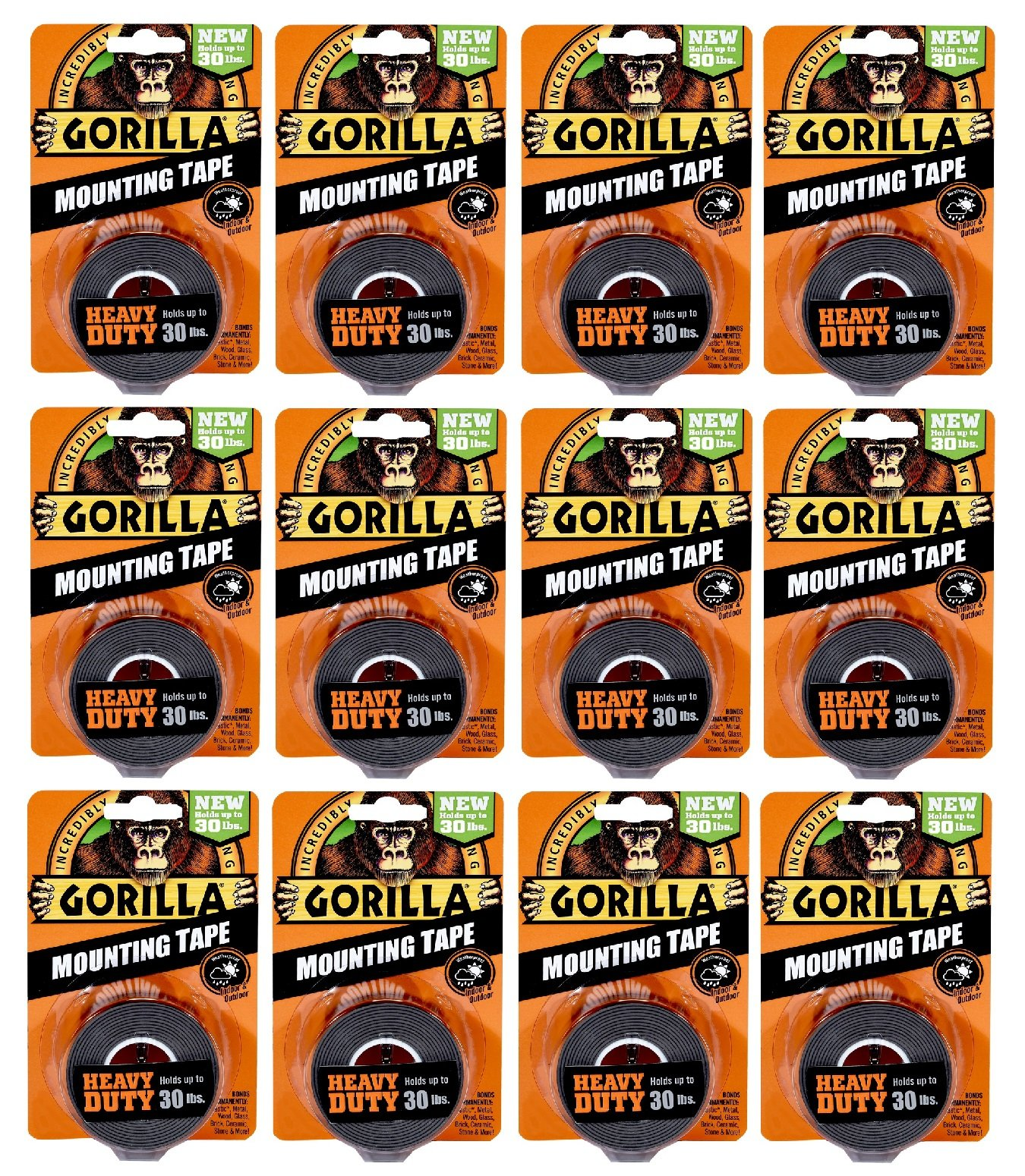 Gorilla Heavy Duty Double Sided Mounting Tape, 1 Inch x 60 Inches, Black(Pack of 12)