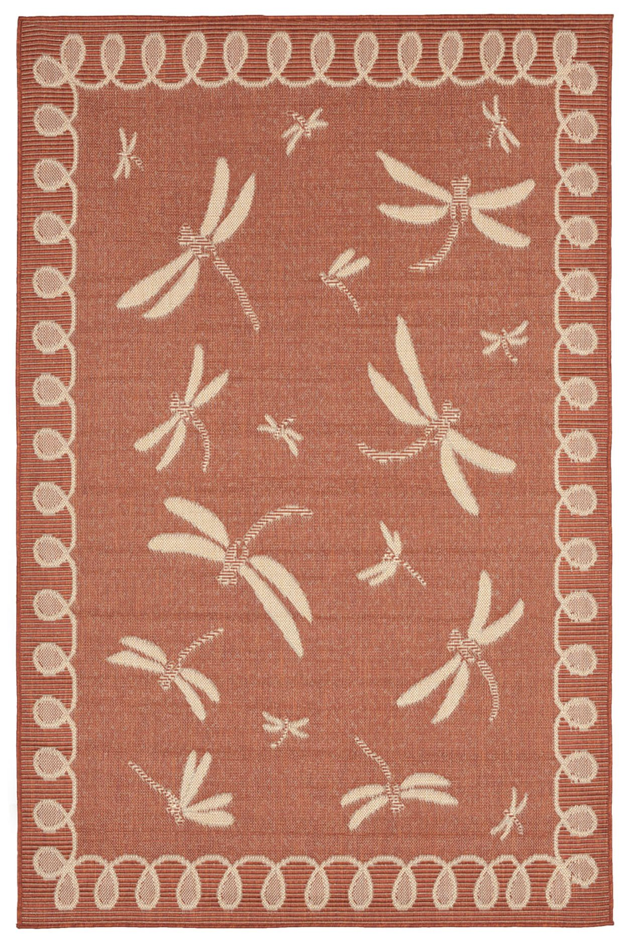 AREA RUGS - ''DRAGONFLY DANCE'' RUG - TERRACOTTA - 39'' x 59'' - INDOOR OUTDOOR DRAGONFLY RUG