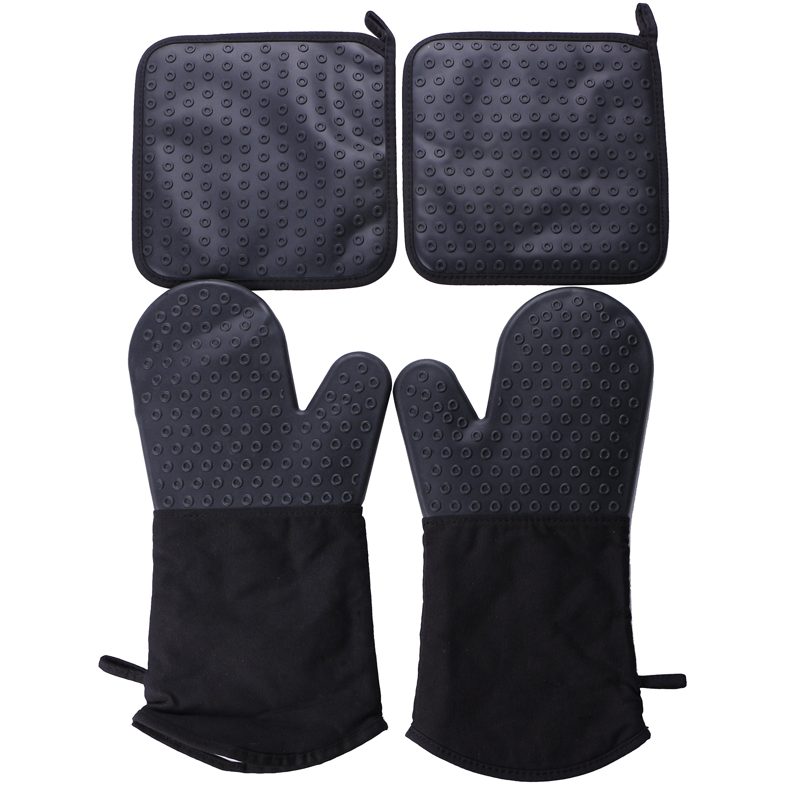 Webake 2pcs Silicone Oven Mitts Gloves and 2pcs Oven Pot Holders Set for Finger Hand Wrist Protection