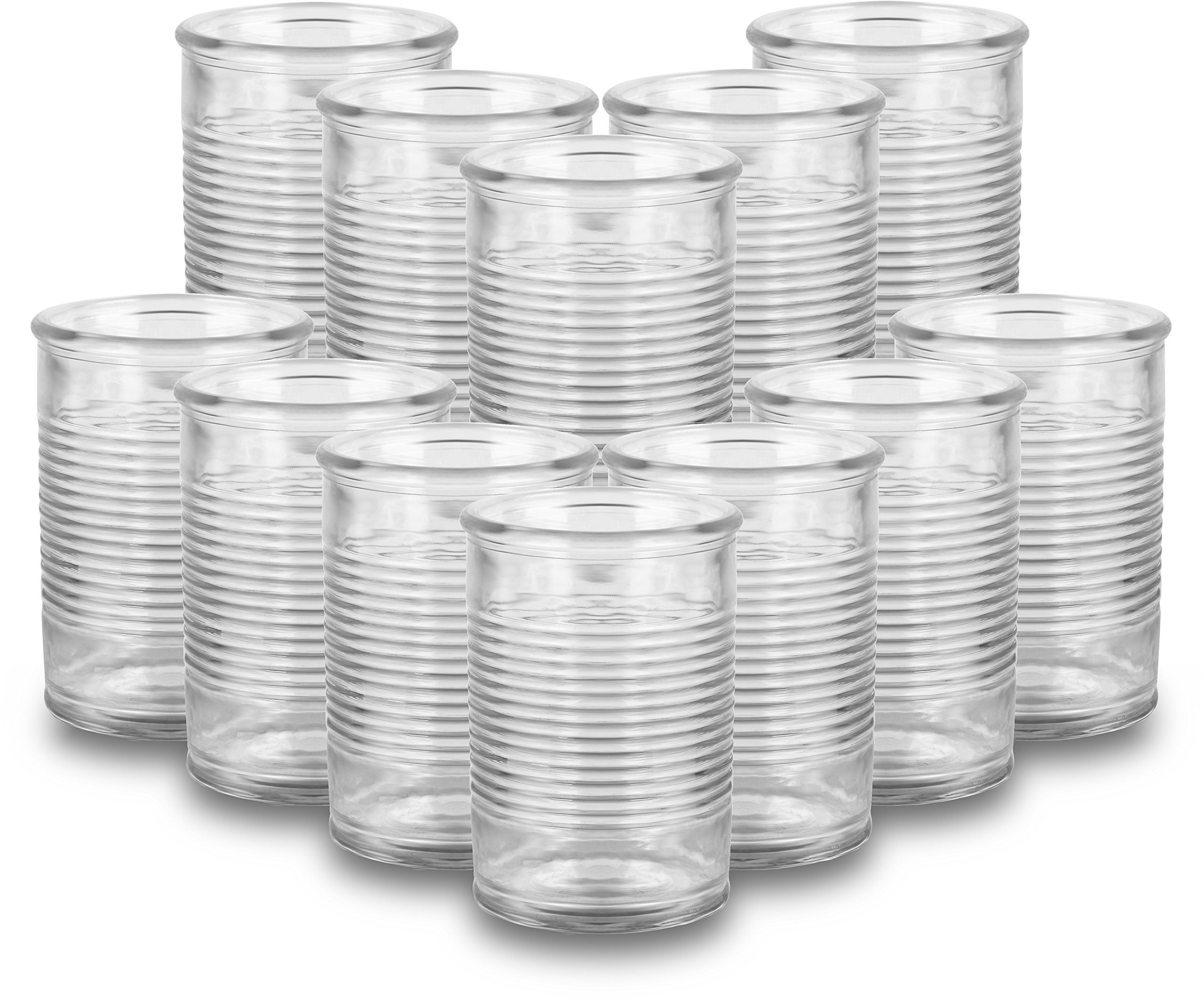 Circleware 08960 Huge Set of 12 Mason Jars in Fun Can Shaped Glasses, Home and Kitchen Farmhouse Glassware Décor Drink Tumblers for Water, Beer, Whiskey and Cold Beverages, 16 oz, Funny Can-12pc
