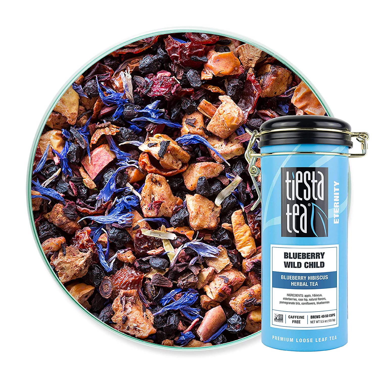 Tiesta Tea - Blueberry Wild Child, Loose Leaf Blueberry Hibiscus Herbal Tea, Non-Caffeinated, Hot & Iced Tea, 5.5 oz Tin - 50 Cups, Natural Flavors, Herbal Tea Loose Leaf Blend