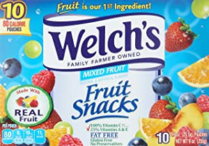 Welch's Fruit Snacks, Mixed Fruit, 10 Pouches, 0.9 oz Each