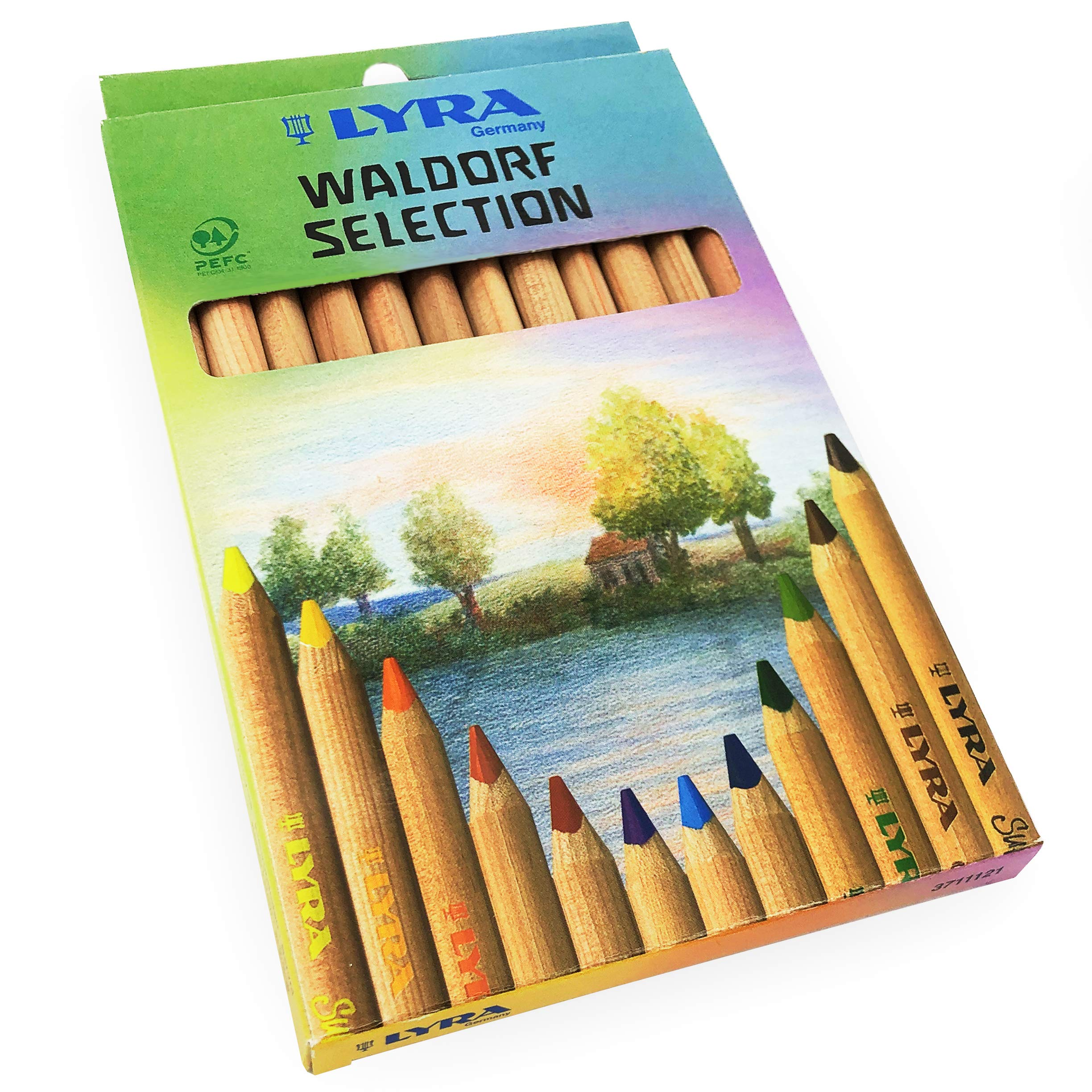 Lyra Waldorf Selection Triangular Colouring Pencils - Assorted Colours - Pack of 12 by Lyra -