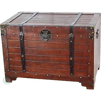Vintiquewise(TM) Old Fashioned Wooden Storage Treasure Trunk