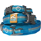 Kurgo Rsg Dog Collar | Extra Wide Collar for Dogs | Comfortable | Adjustable | Reflective | Quick Release Buckles | Molle Compatible | Bottle Opener | Small, Medium, Dogs | Blue/Grey (Large)