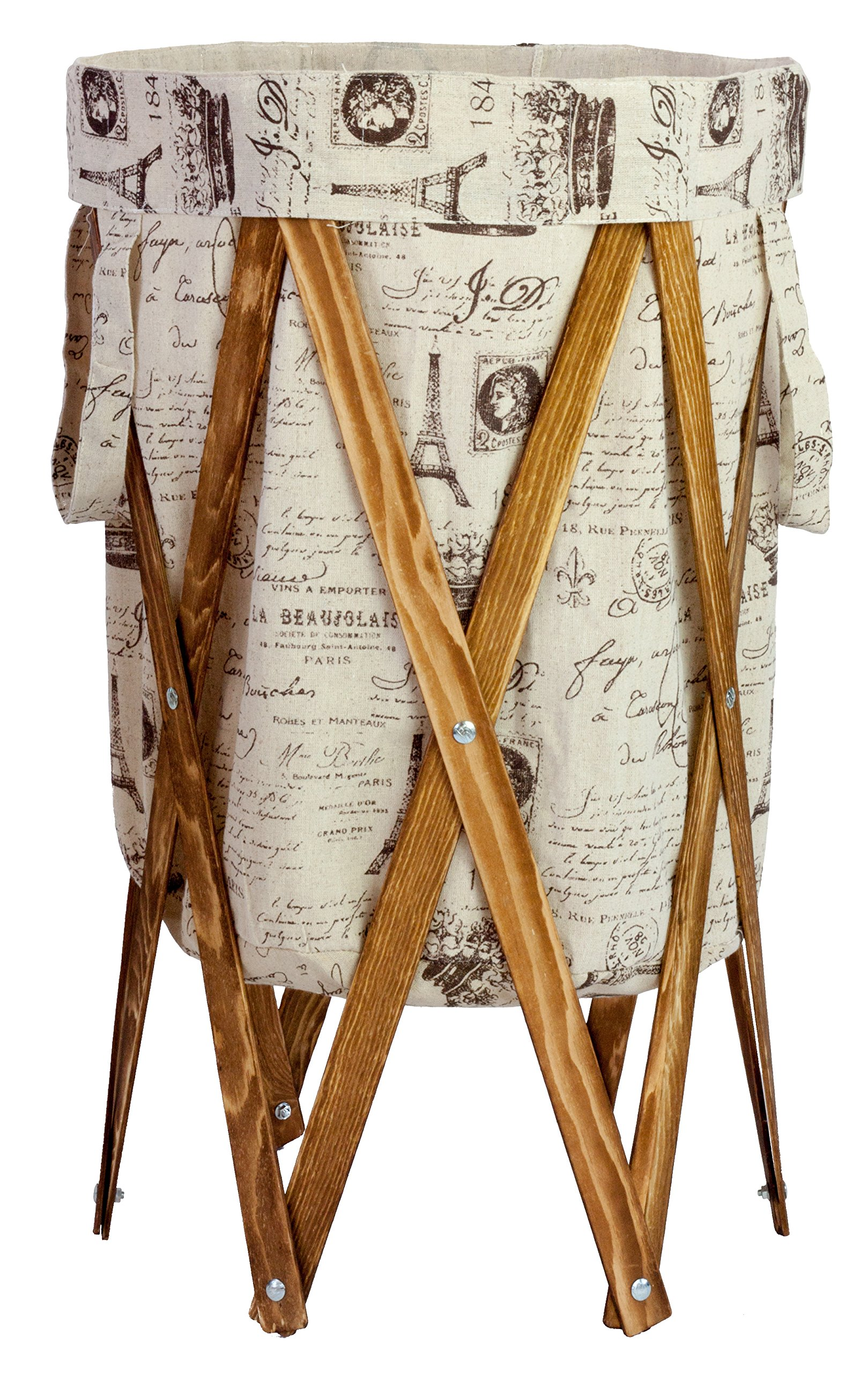 MAX + RAE Collapsible Laundry Hamper with Stained Wood Frame | Dirty Clothes Storage | Removable Fabric Bag with Handles, Easy to Carry and Clean | Nursery, Kids Bedroom, Bathroom (French)