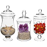 Set of 3 Small Clear Glass Storage & Display Canisters / Wedding Buffet & Apothecary Jars - MyGift