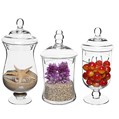 MyGift Set of 3 Small Clear Glass Storage & Display Canisters/Wedding Buffet & Apothecary Jars
