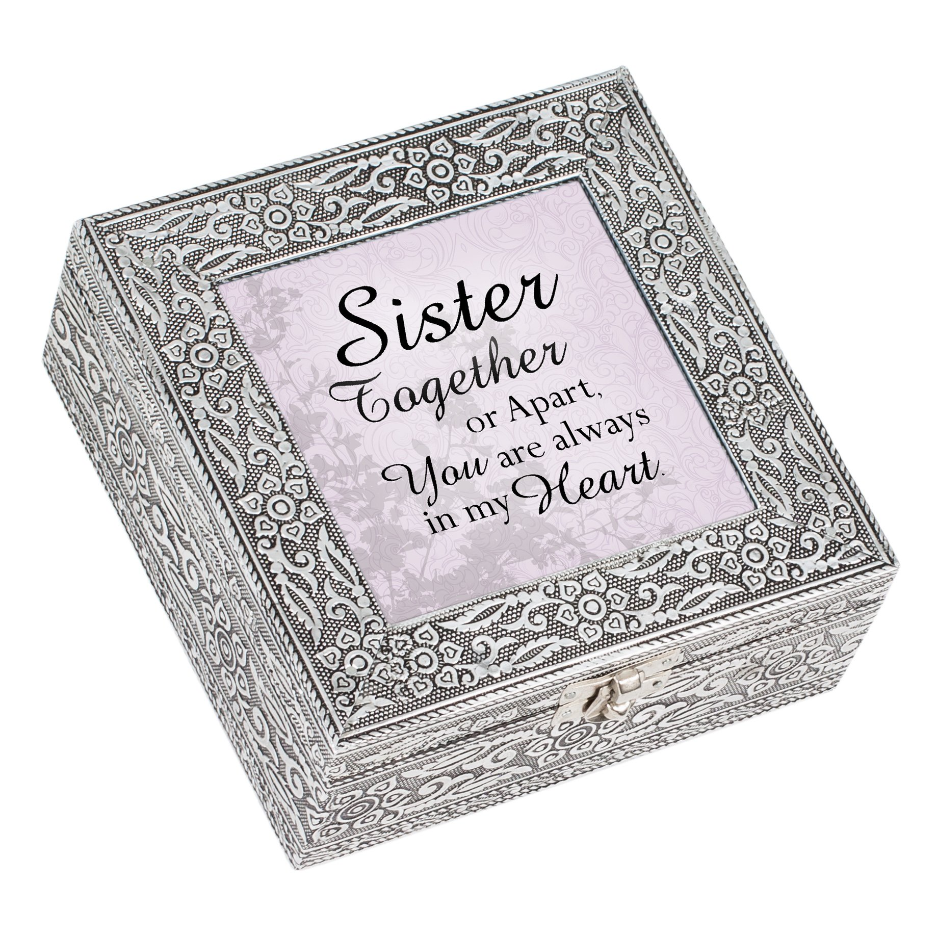 Cottage Garden Sister Together Always in Heart Silver Stamped Metal Jewelry Music Box Plays Tune That's What Friends are for