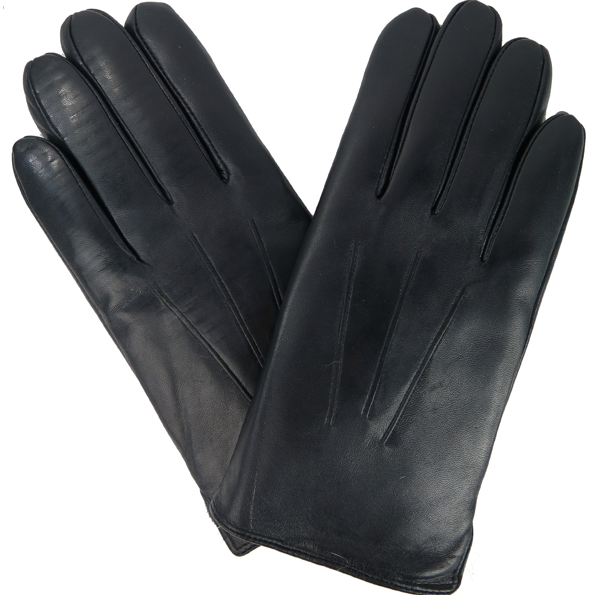 Mens Black Leather Winter Gloves w/ Rabbit Fur Lining And