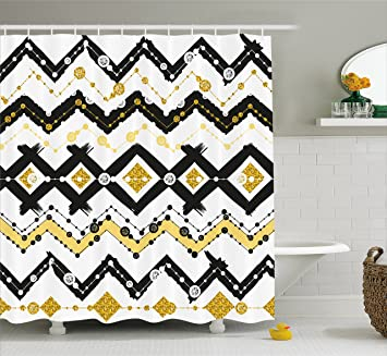 Amazon.com: Gold and White Shower Curtain by Lunarable, Tribal ... on black and green bathroom themes, black bathroom accessories theme, black and yellow bathroom designs,