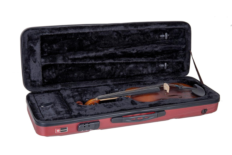 Completa funda para violín Crossrock CRA400VFRD 4/4 - Mochila con estructura moldeada en ABS y cremallera, color rojo