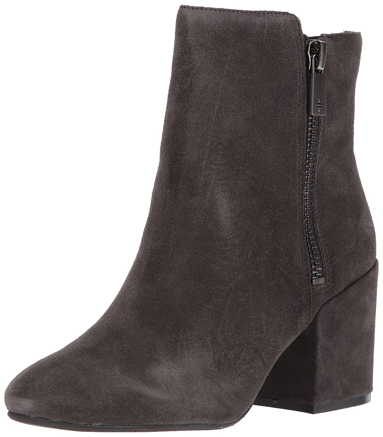 Kenneth Cole New York Women's Rima Bootie with Double Zip Block Heel Suede Boot B0727VYXQV 5 B(M) US|Asphault