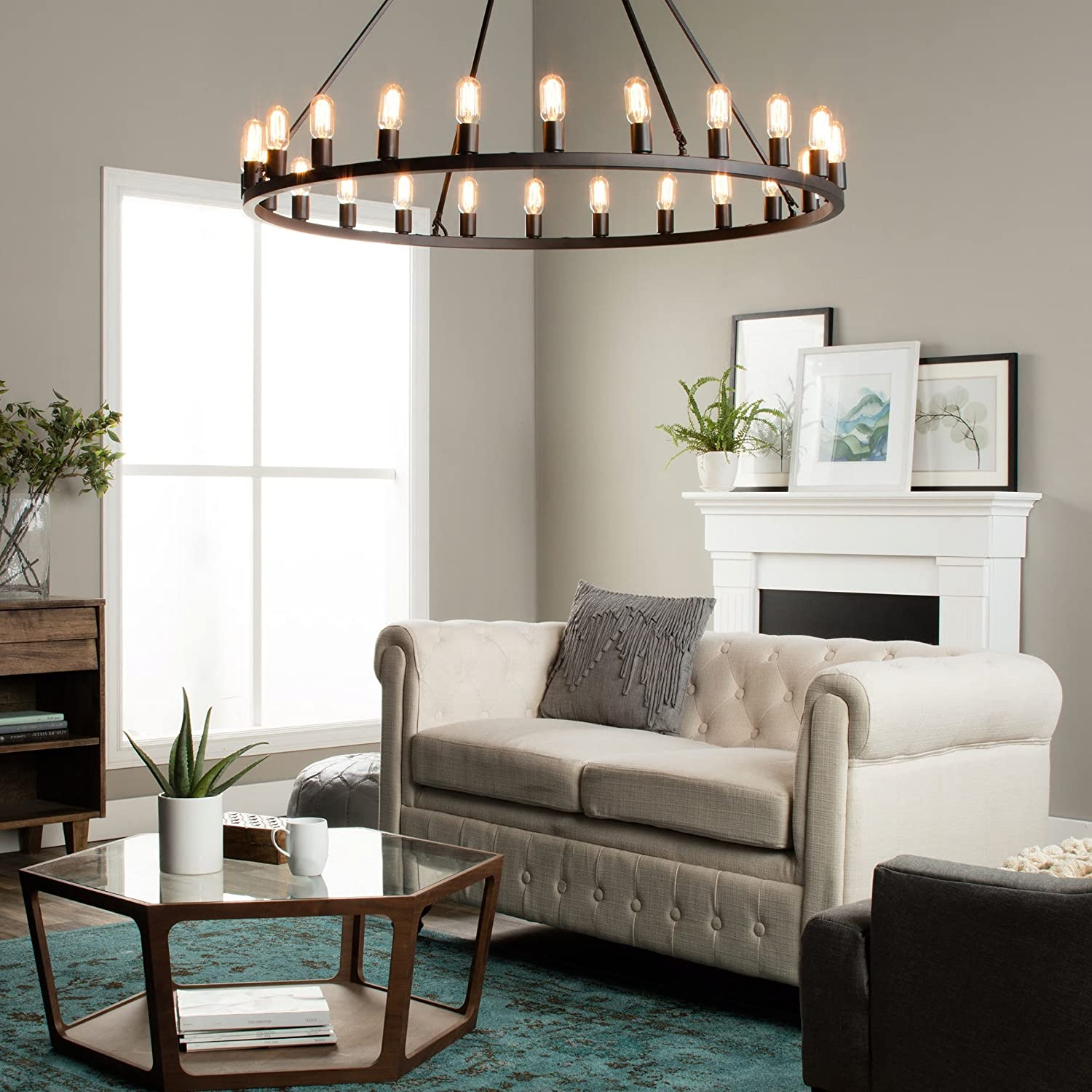 Rustic Chandelier Centerpiece With Bulbs For Modern Farmhouse Lighting 48 Oversized Large Round Pendant Lamp Provides Ample Illumination Oil Rubbed